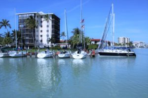 The boats in the marina in the Moorings, Naples FL