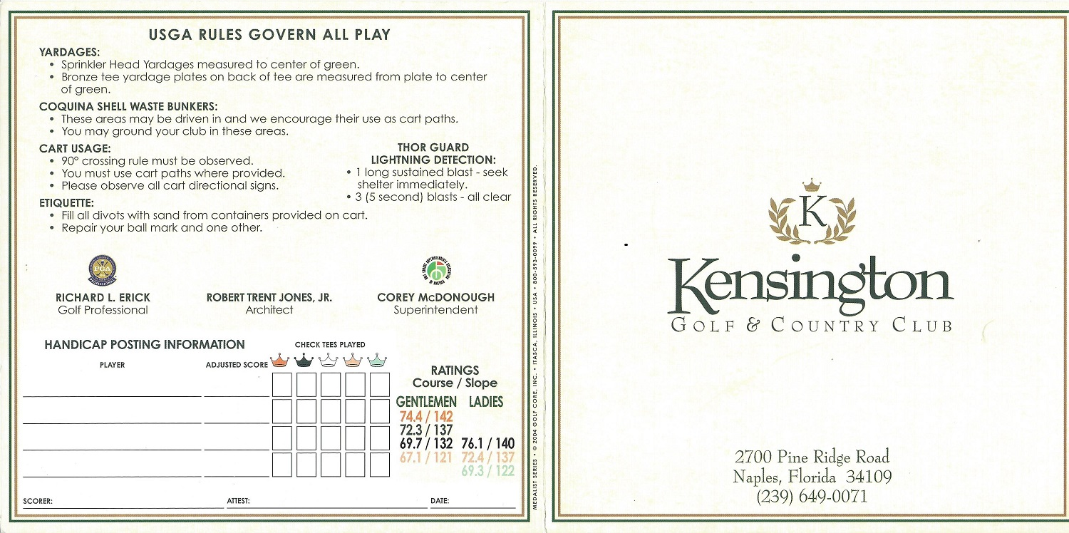 Kensington Golf and Country Club, Score Card Front