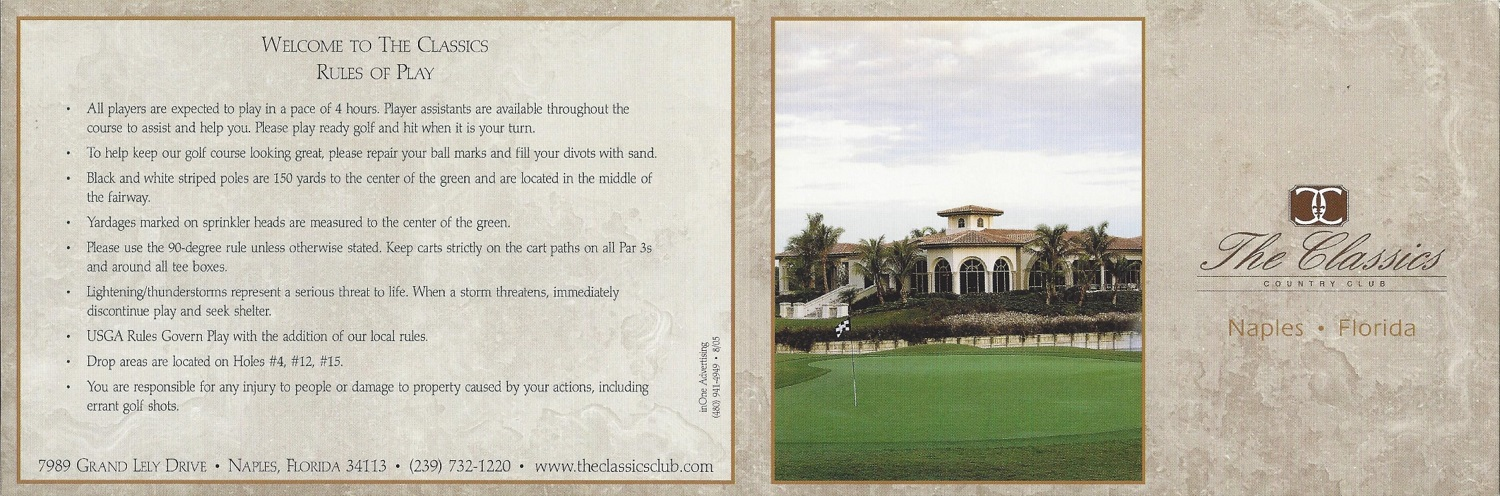Lely Resort, Naples FL Classics Score Card Front