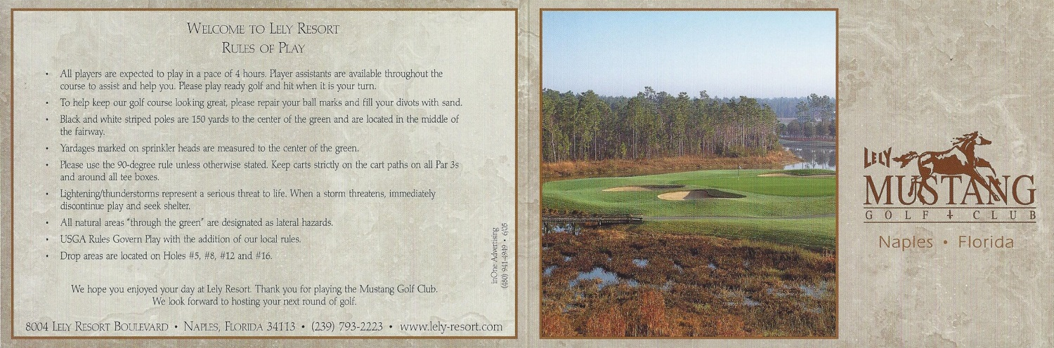 Lely Resort, Naples FL Mustang Score Card Front