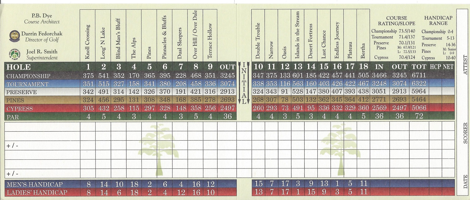 Olde Cypress Score Card Back