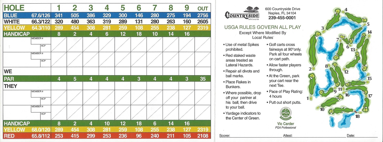 Score Card for Countryside Golf and Country Club, Naples FL, Back