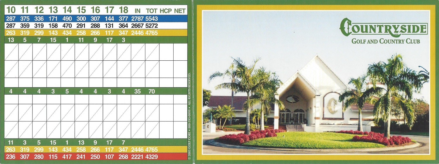 Score Card for Countryside Golf and Country Club, Naples FL, Front