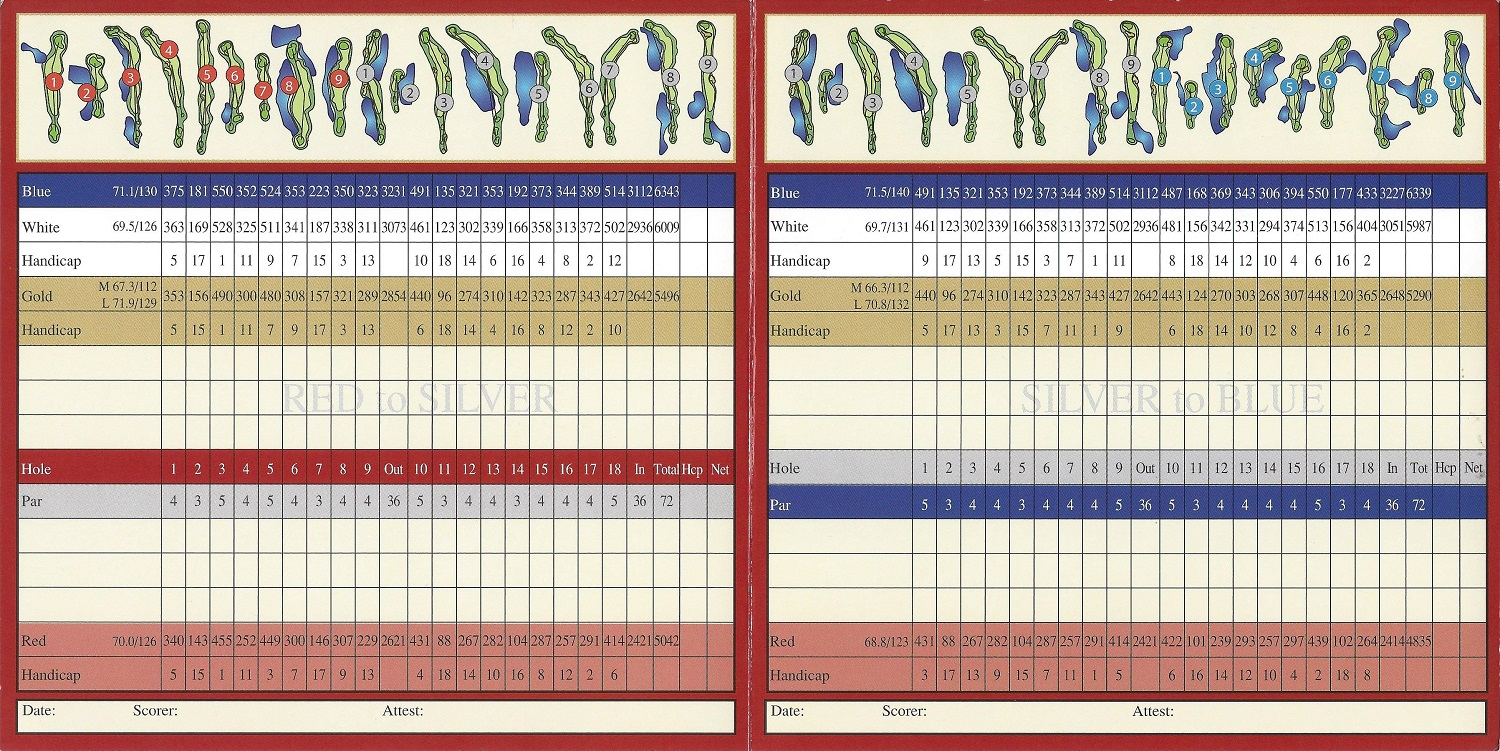 Score Card for Foxfire Country Club, Naples FL Back