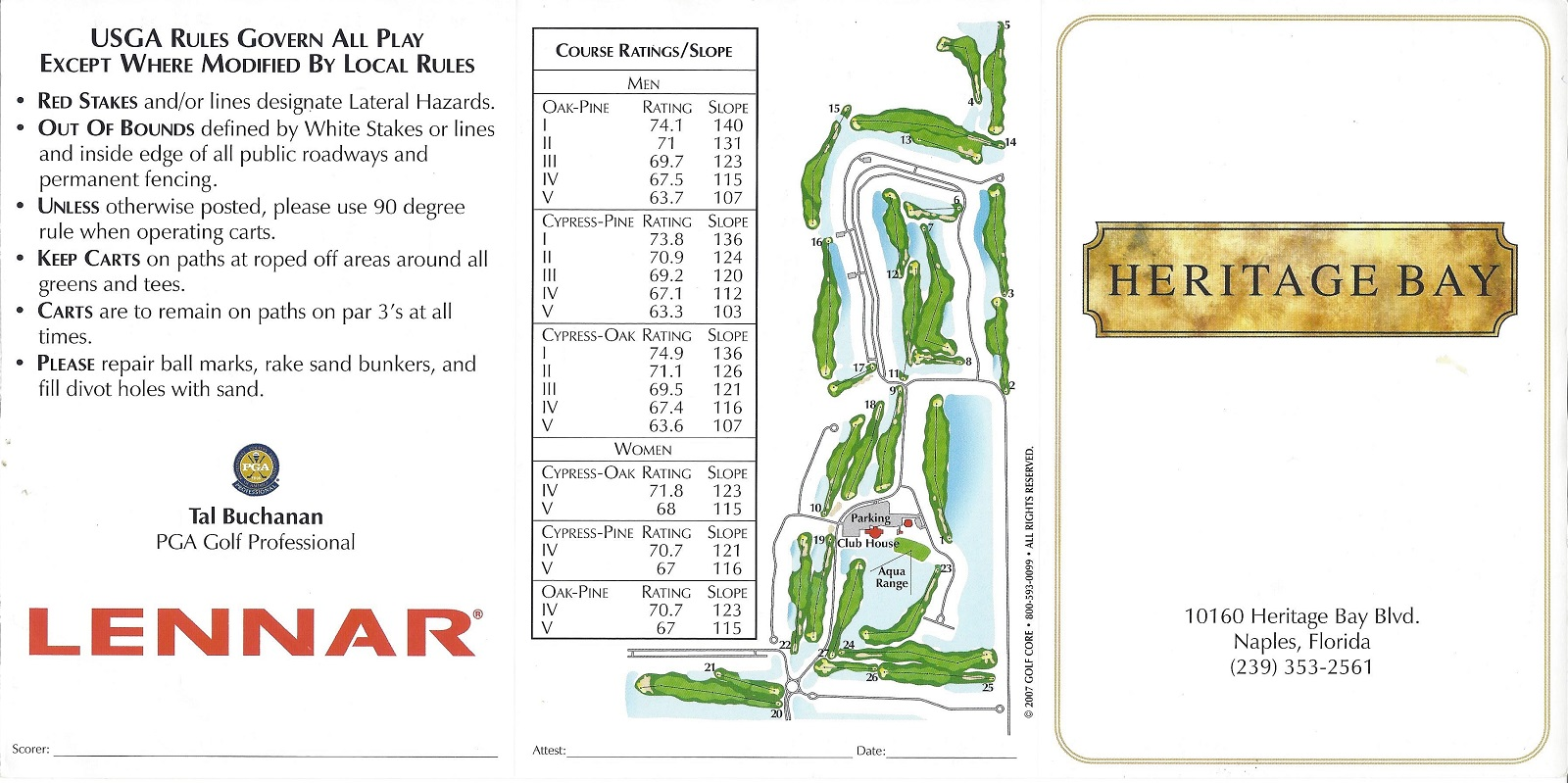 Score Card for Heritage Bay Naples FL Front