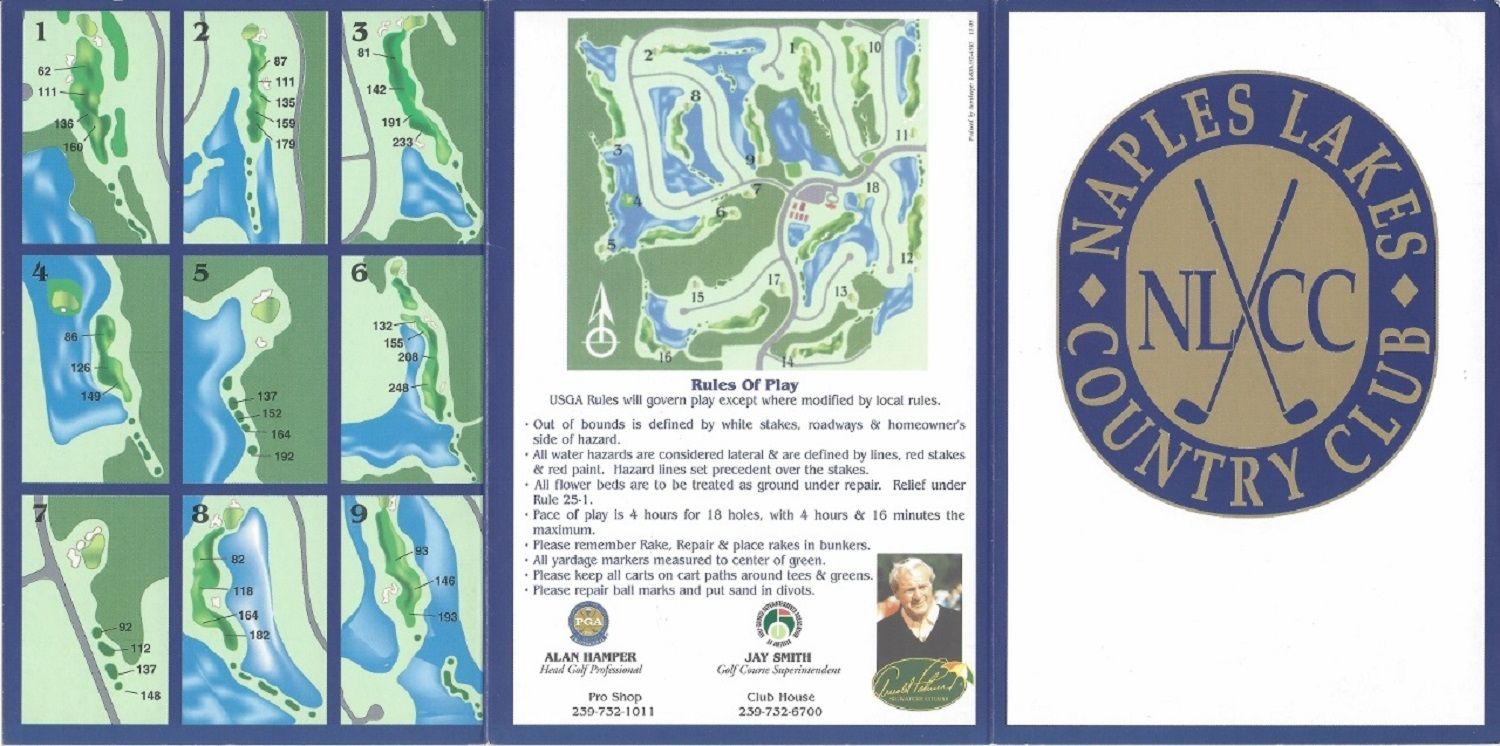 Score Card for Naples Lakes Golf and Country Club, Naples FL, Front