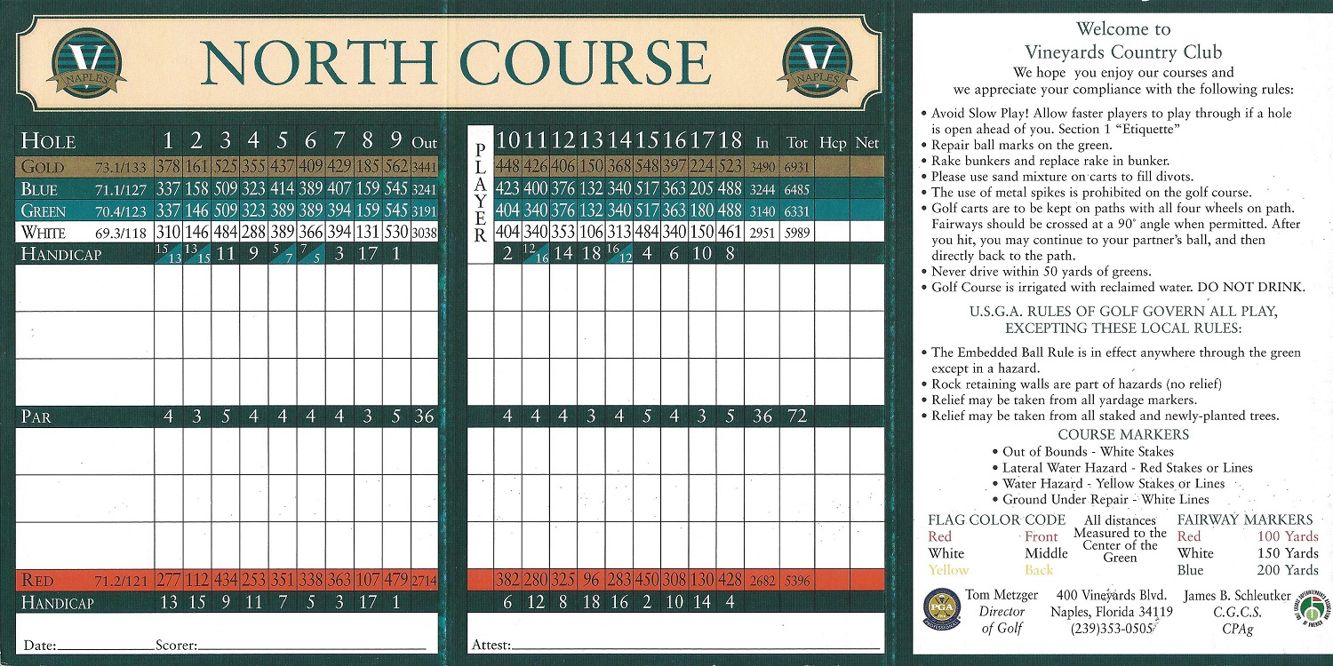 The Vineyards North Course Score Card