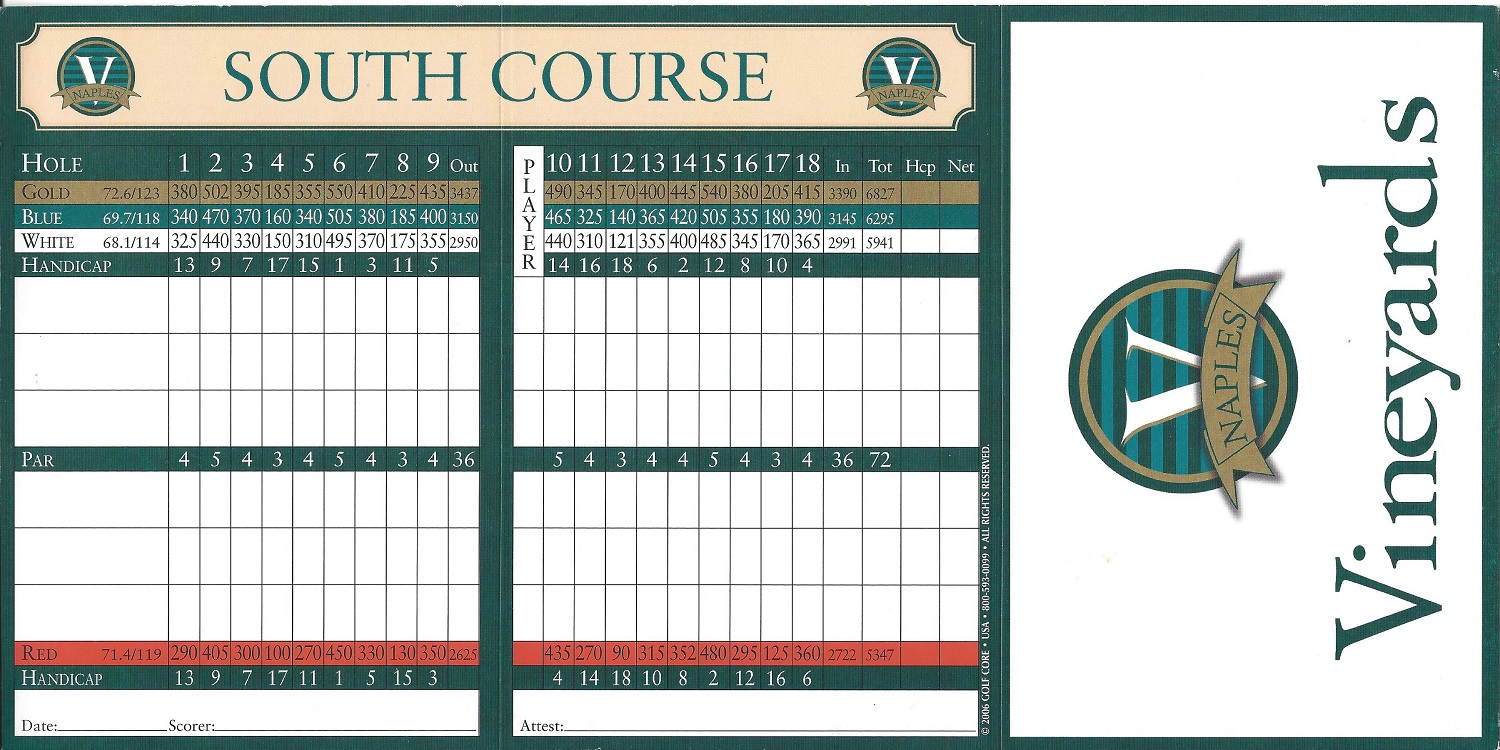 The Vineyards South Course Score Card