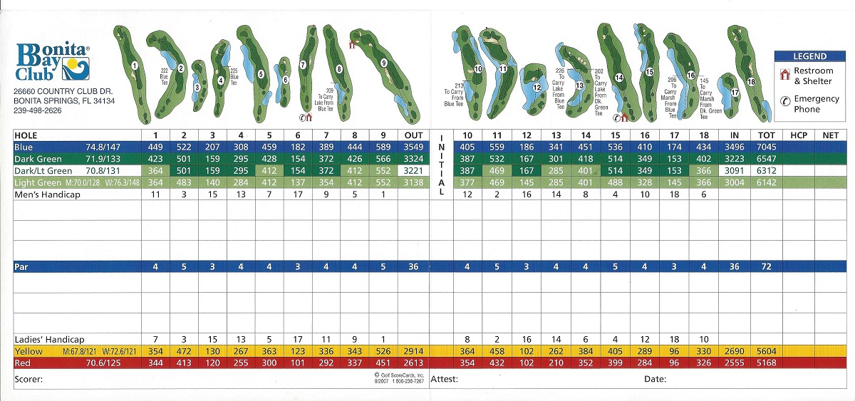 Bonita Bay, Score Card for Bay Island Back