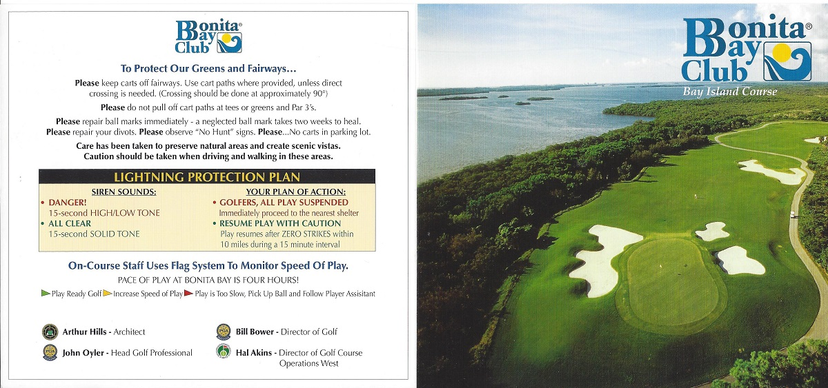 Bonita Bay, Score Card for Bay Island Front