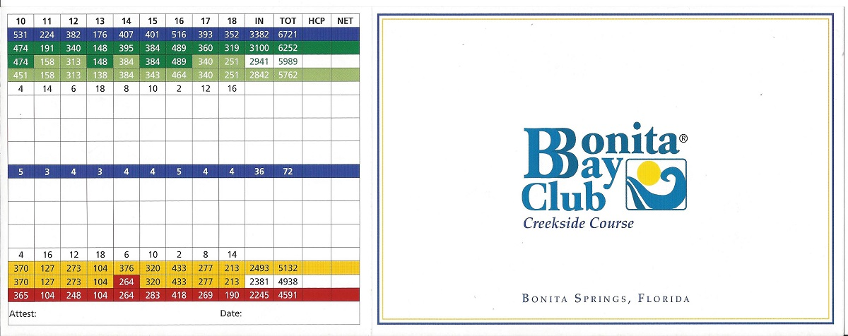 Bonita Bay Creekside Score Card Front