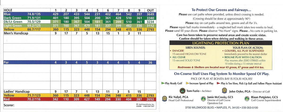 Bonita Bay Cypress Score Card Back