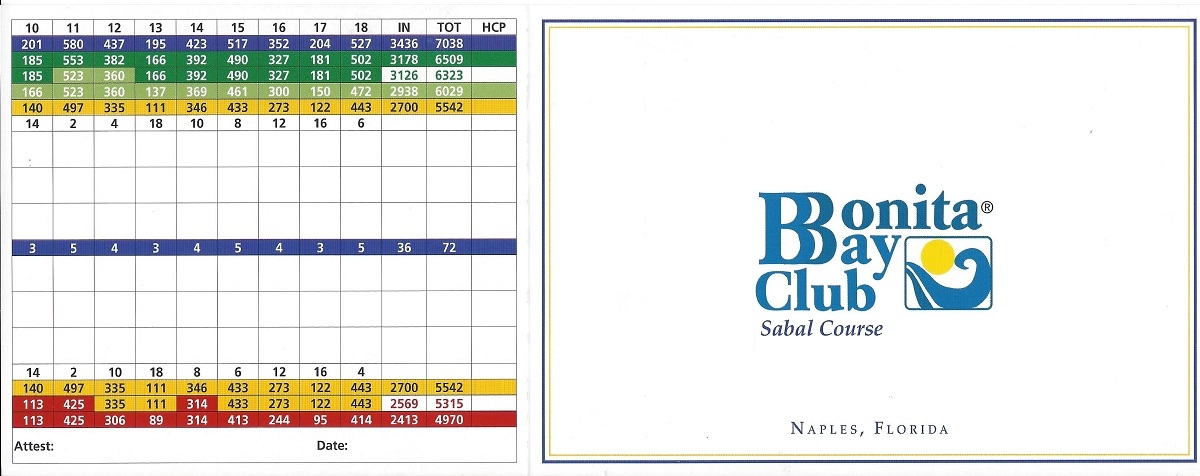 Bonita Bay Sabal Score Card Front