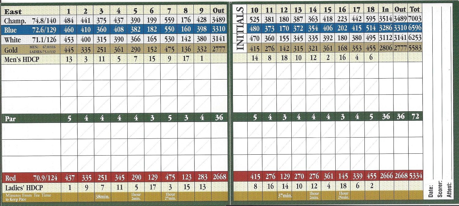 Imperial Golf Estates Country Club Score Card East Course
