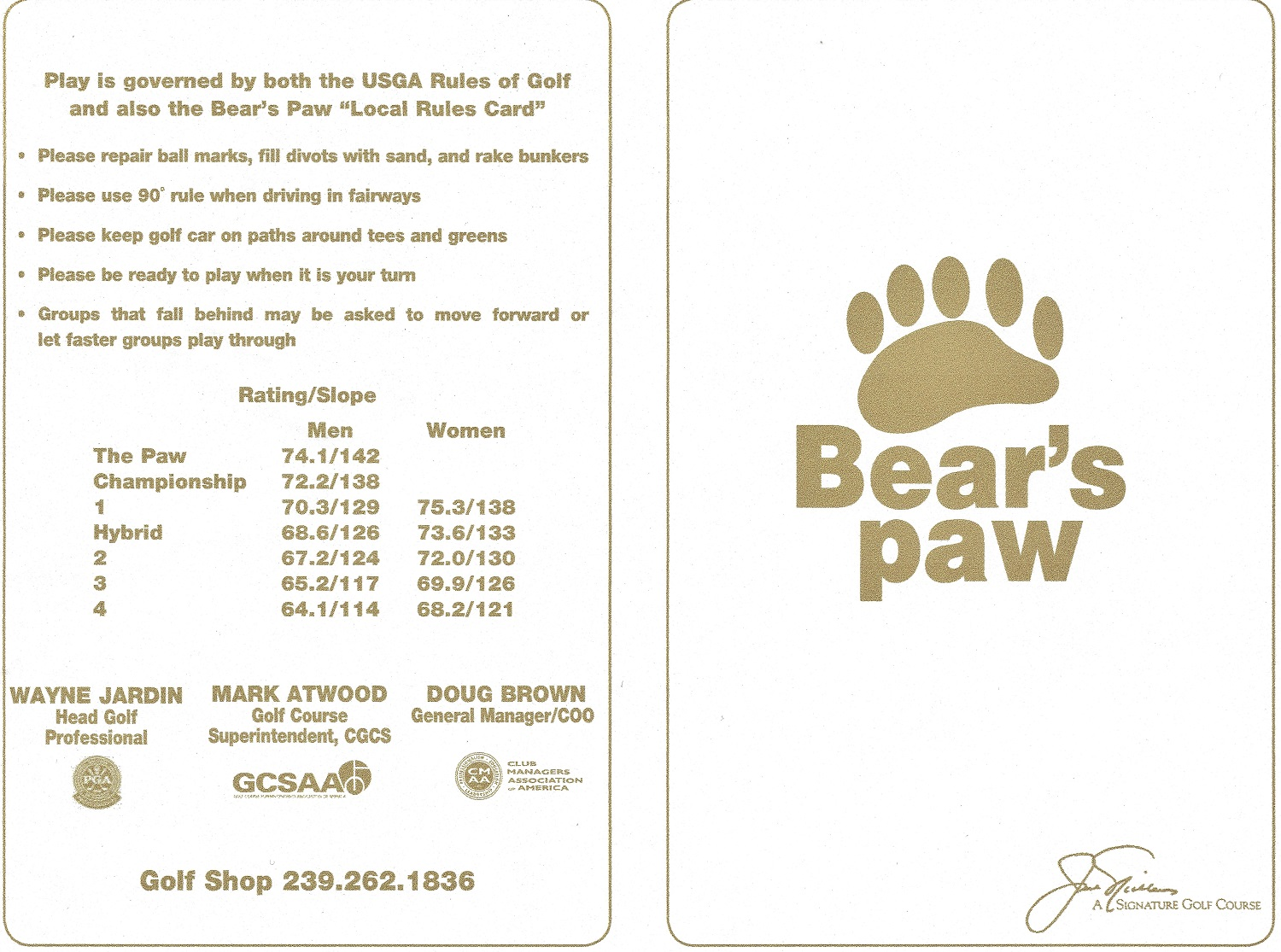 Bear's Paw Score Card Front