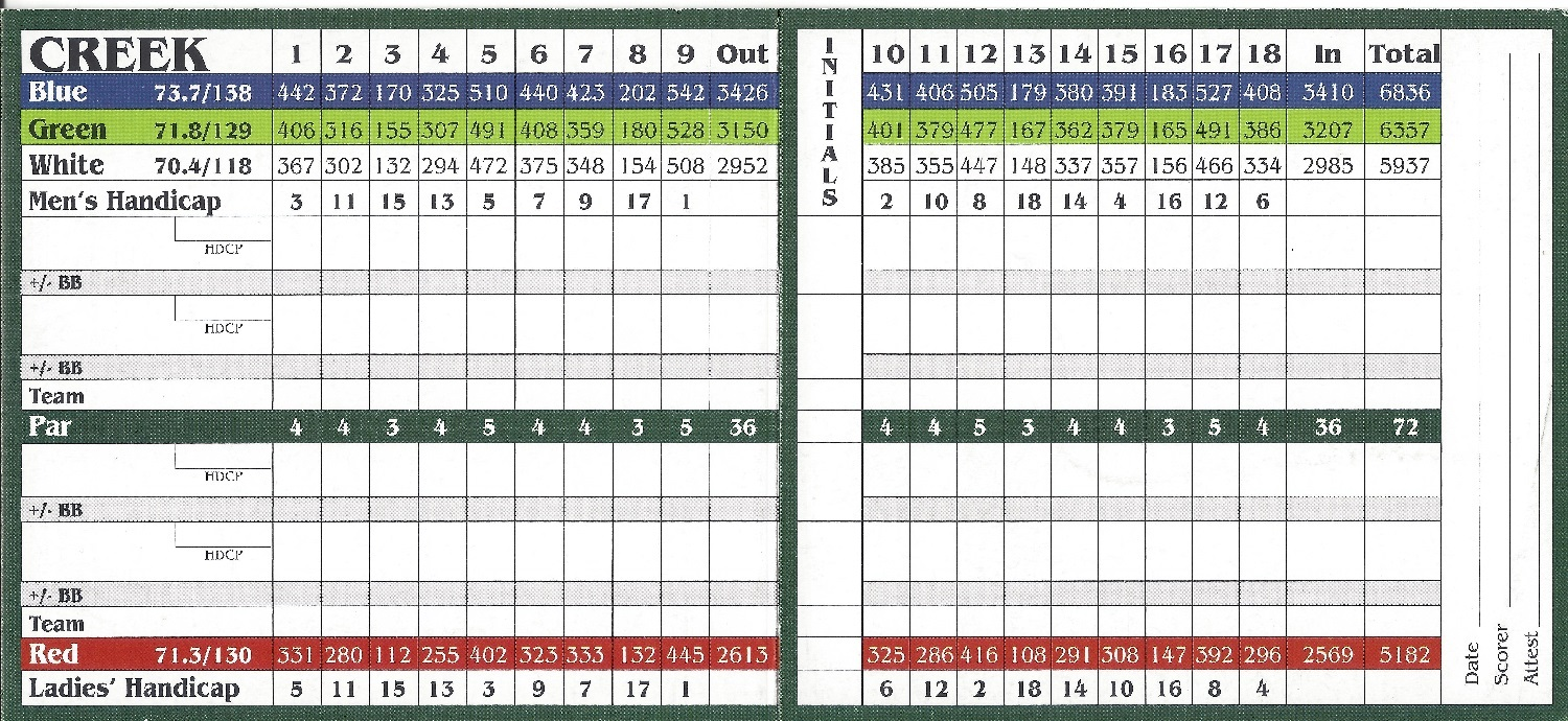 Quail Creek Creek Course Score Card