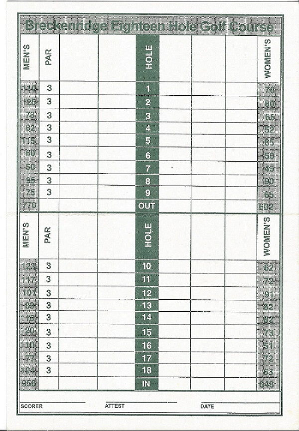 Breckinridge Golf and Tennis Club Score Card Back