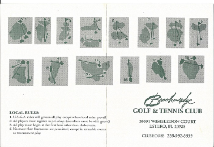 Breckinridge Golf and Tennis Club Score Card Front