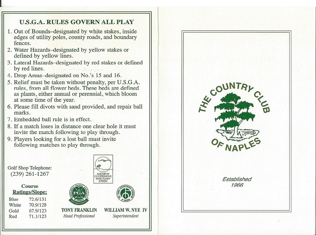 Score Card for the Country Club of Naples Front