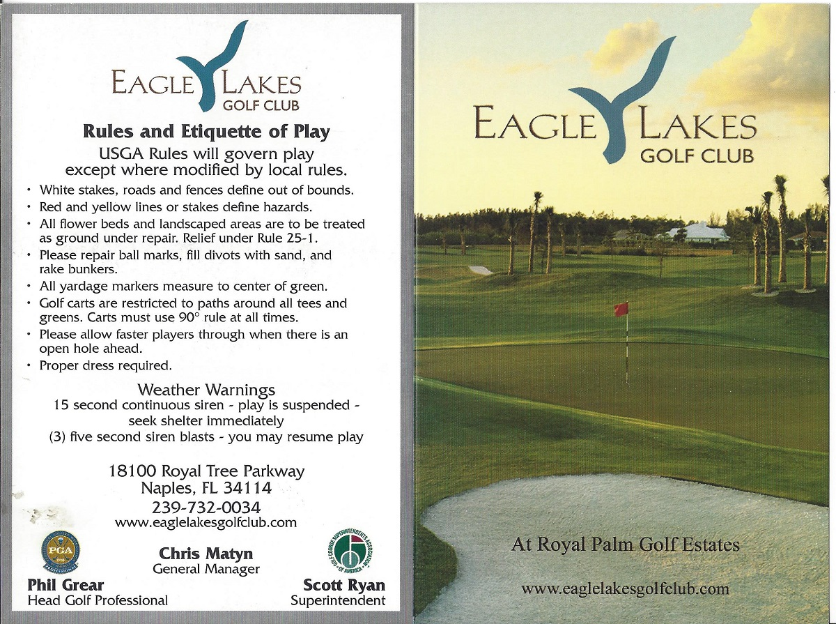 Score Card For Eagle Lakes, Naples FL Front