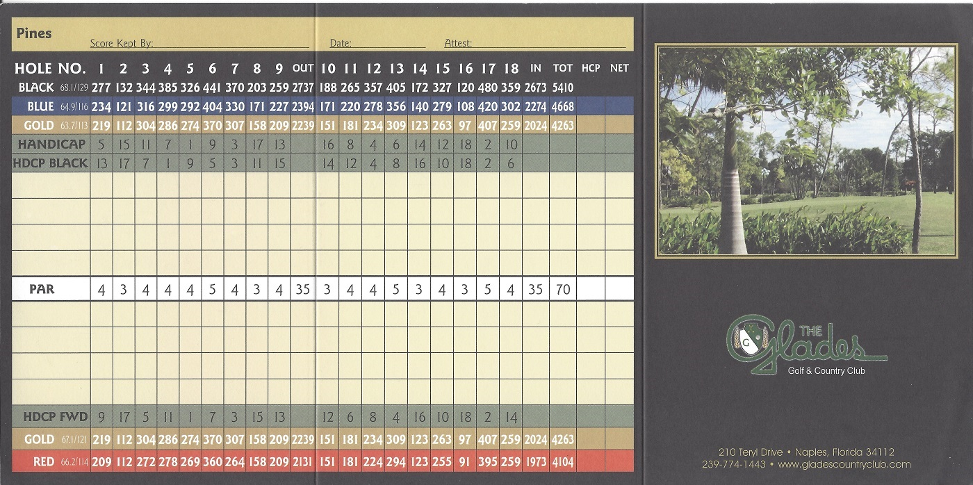 The Glades Score Card Front