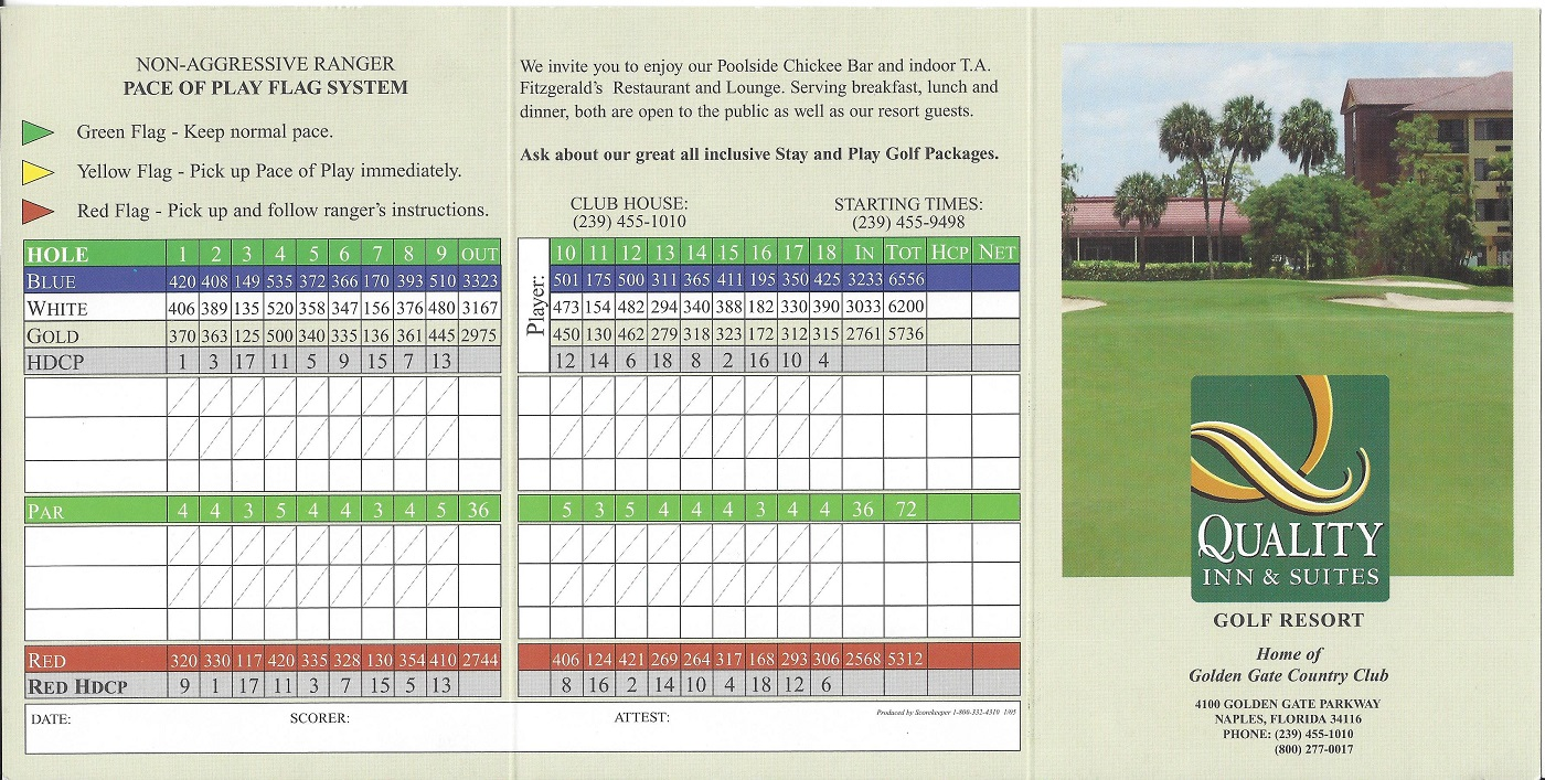 Score Card for the Quality Inn, Naples FL Front
