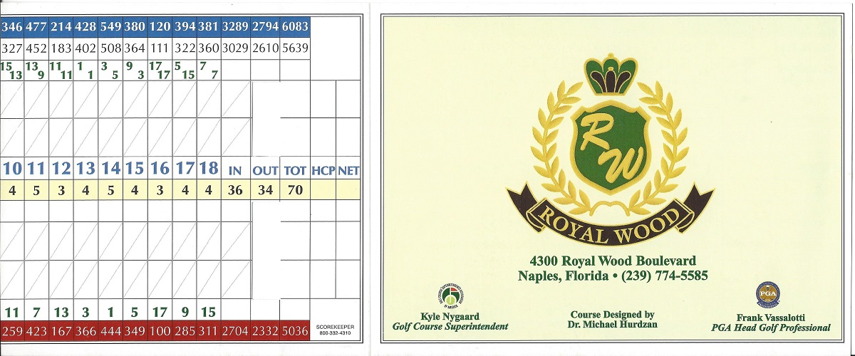 Score Card for Royal Country Club Front