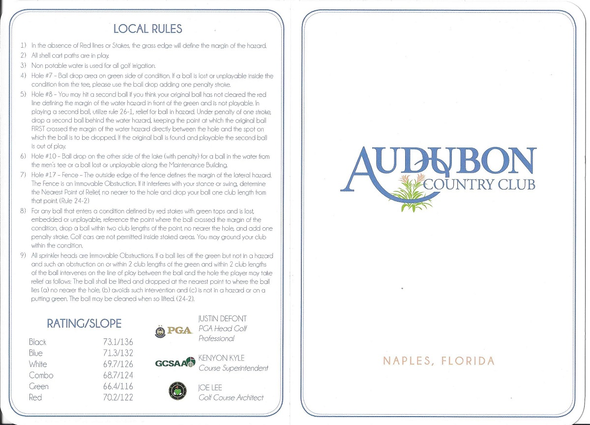 Score Card for Audubon Front