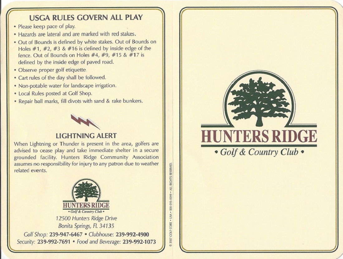 Score Card for Hunters Ridge Front
