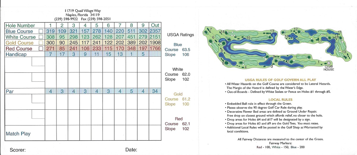 Quail Creek Village Score Card Back