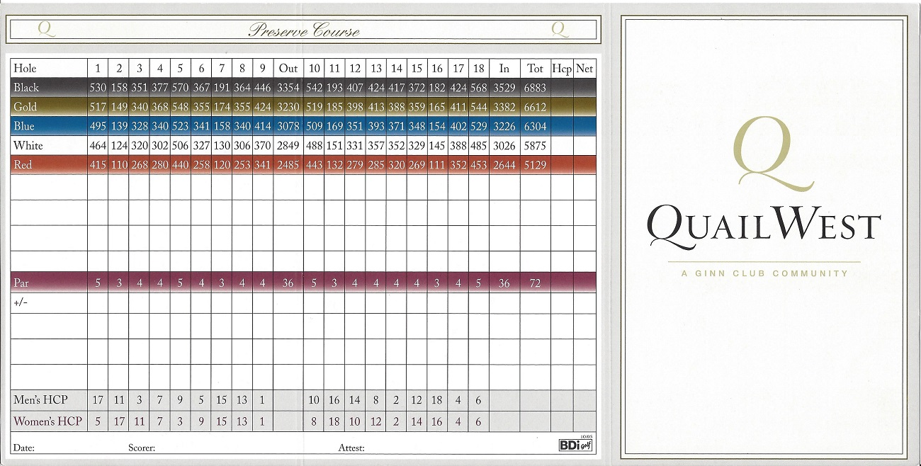 Score Card for the Quail West Preserve Course