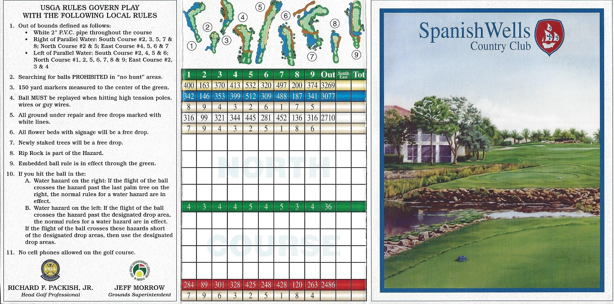 Score Card for Spanish Wells, Bonita Springs FL Front