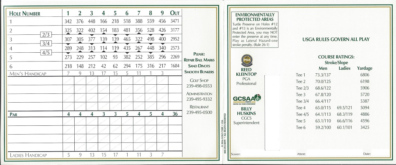 Score Card for Highland Woods Front