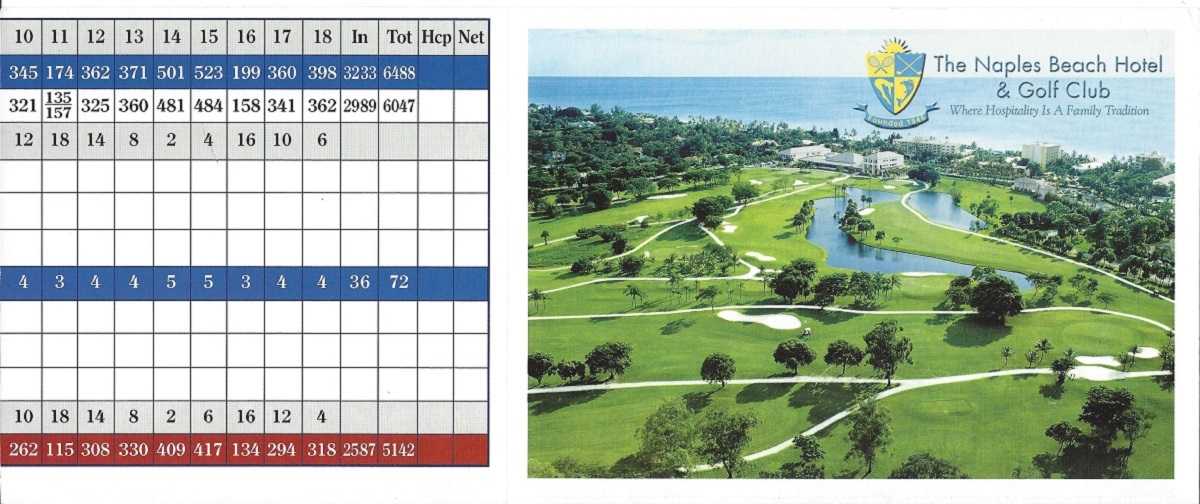 Score Card for the Naples Beach Hotel Front