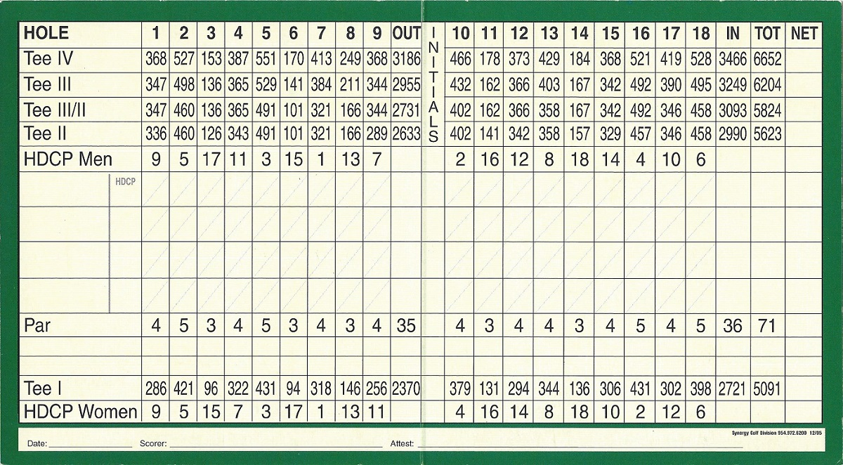 Score Card for the Wilderness Country Club, Back
