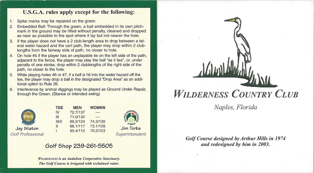 Score Card for the Wilderness Country Club, Front
