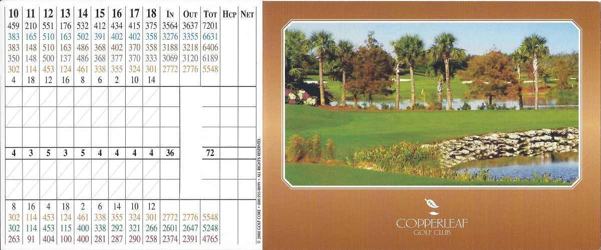 Copperleaf Score Card Front