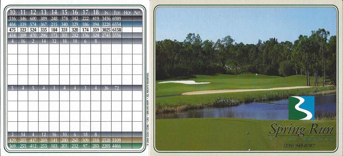 Spring Run at the Brooks Score Card Front