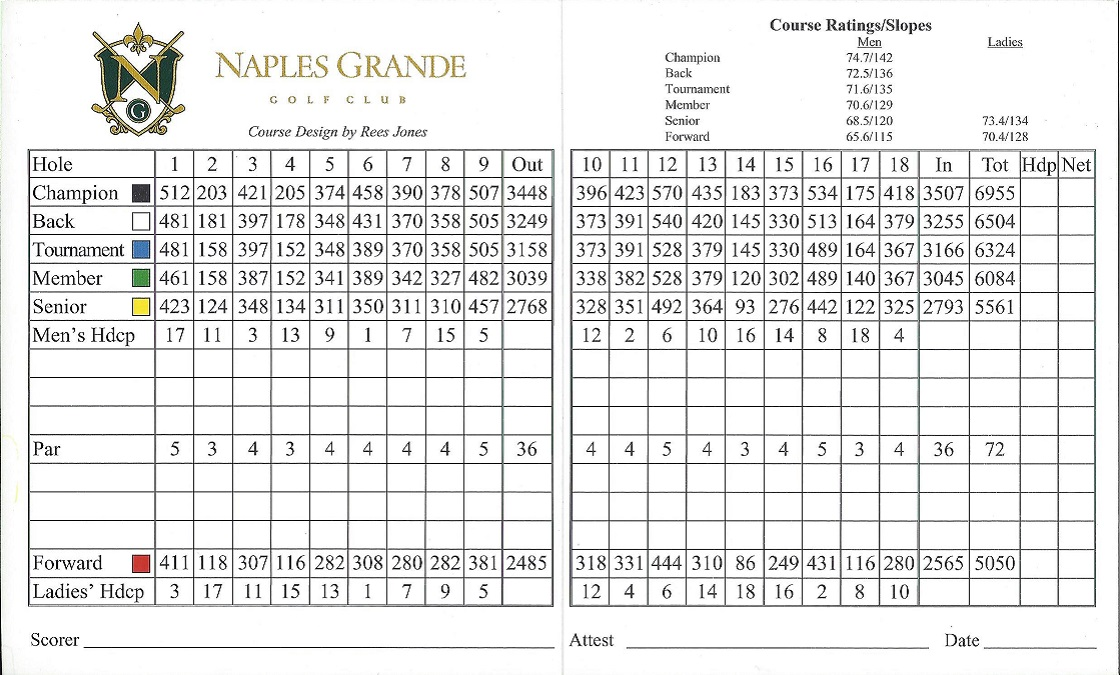 Naples Grande Score Card Back