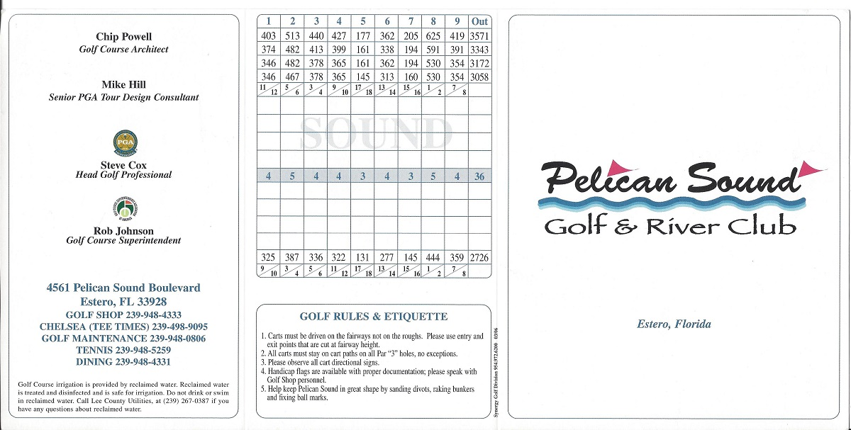 Pelican Sound Golf and River Club Score Card Front