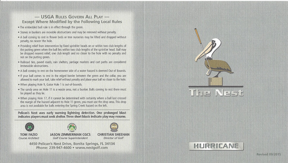 Pelican's Nest Golf Club Score Cards - The Hurricane Front