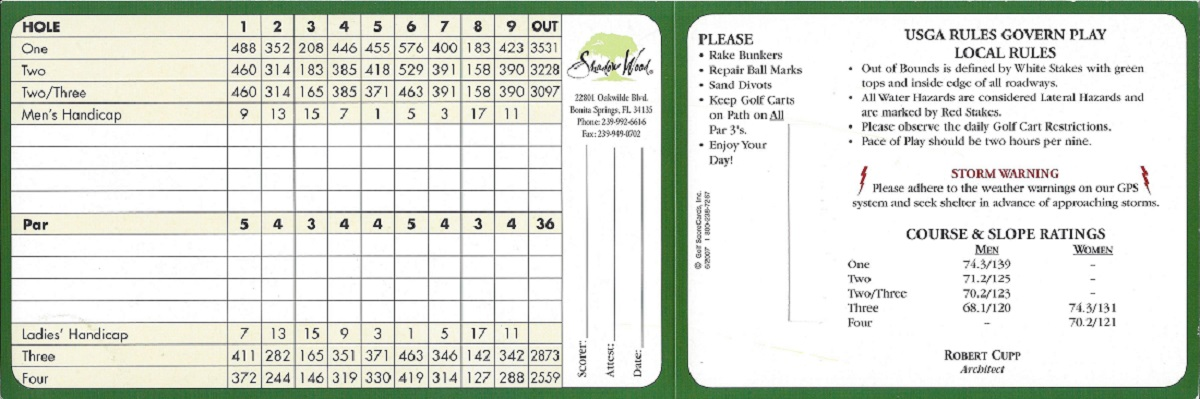 Shadow Wood Preserve North Course Score Card Back