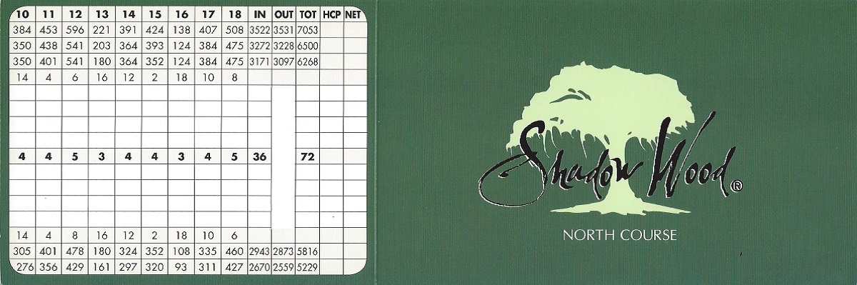 Shadow Wood Preserve North Course Score Card Front