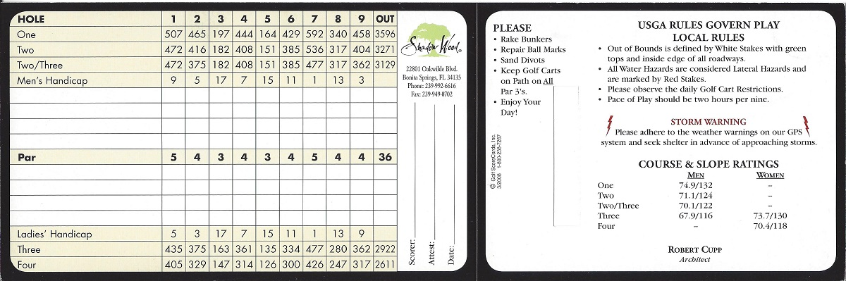 Shadow Wood Preserve South Course Score Card Back