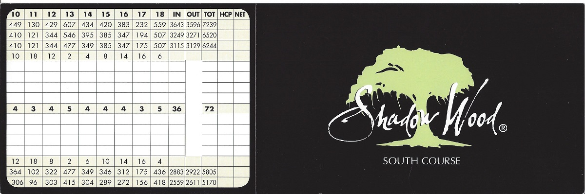Shadow Wood Preserve South Course Score Card Front