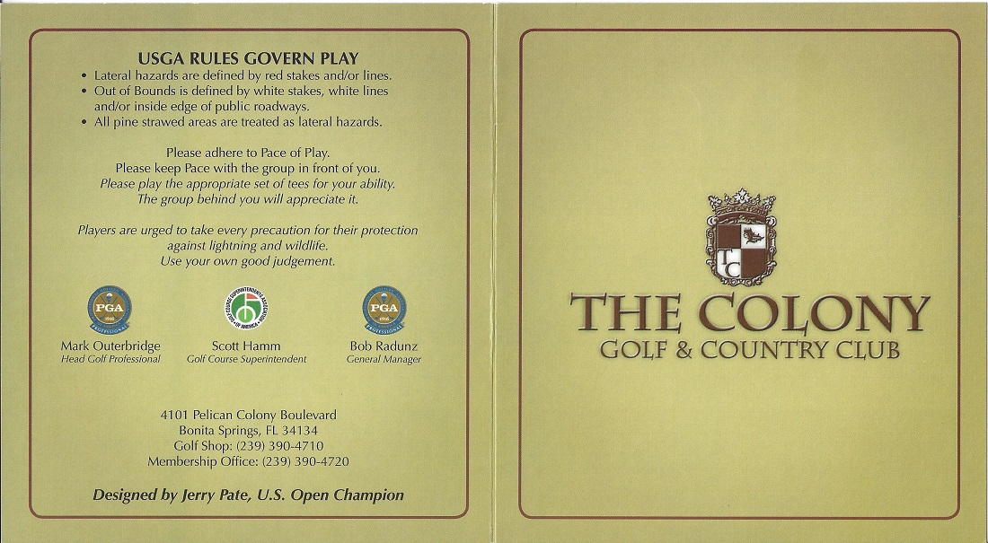The Colony Golf and Country Club Score Card Front