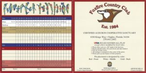 Score Card for Foxfire Country Club, Naples FL Front