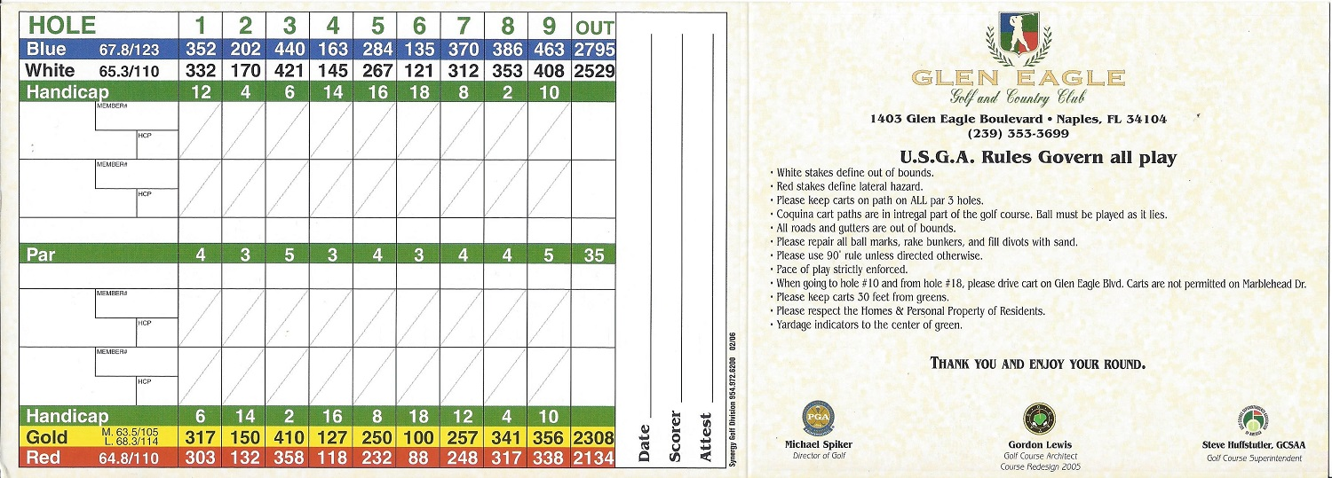 Score Card for Glen Eagle Golf and Country Club, Naples FL Back
