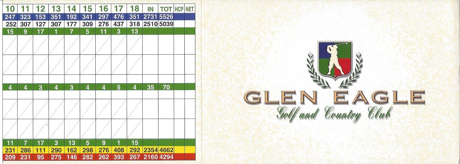 Score Card for Glen Eagle Golf and Country Club, Naples FL Front