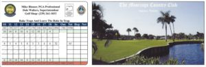 Score Card for The Moorings Country Club, Naples, FL Front